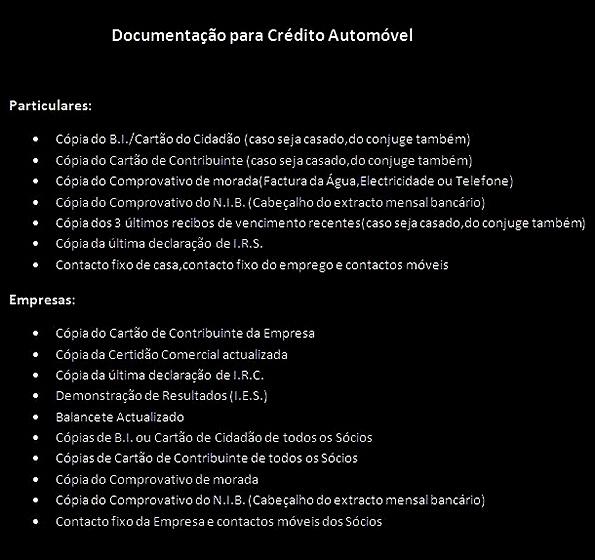 Documentação para Crédito Automóvel Particulares e Empresas